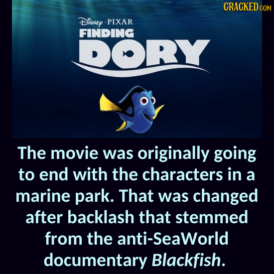 CRACKEDcO Disney PIXAR FINDING DORY The movie was originally going to end with the characters in a marine park. That was changed after backlash that s