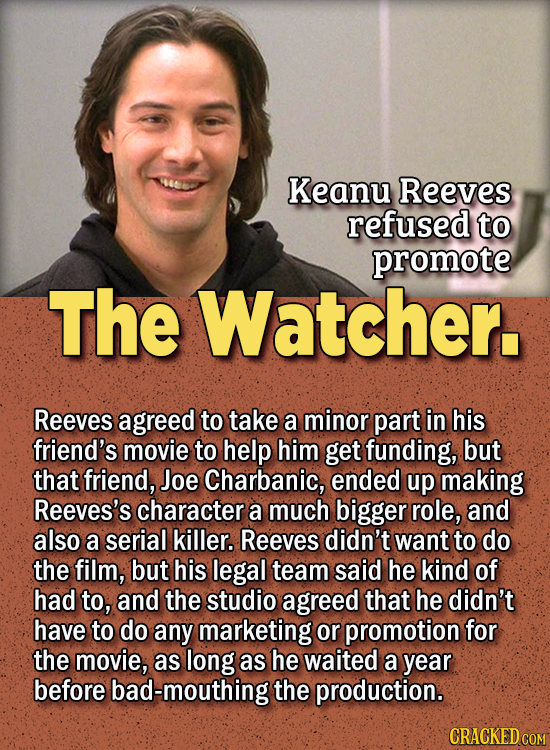 People Who Didn't Want Anything To Do With Their Own Work - Keanu Reeves refused to promote The Watcher.  Reeves agreed to take a minor part in his fr