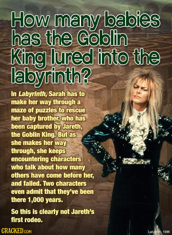 How many babies has the Goblin King lured into the labyrinth? In Labyrinth, Sarah has to make her way through a maze of puzzles to rescue her baby bro