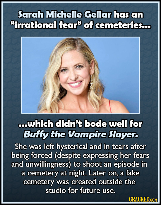 Sarah Michelle Gellar has an irrational fear of cemeteries... ooos ...which didn't bode well for Buffy the Vampire Slayer. She was left hysterical a