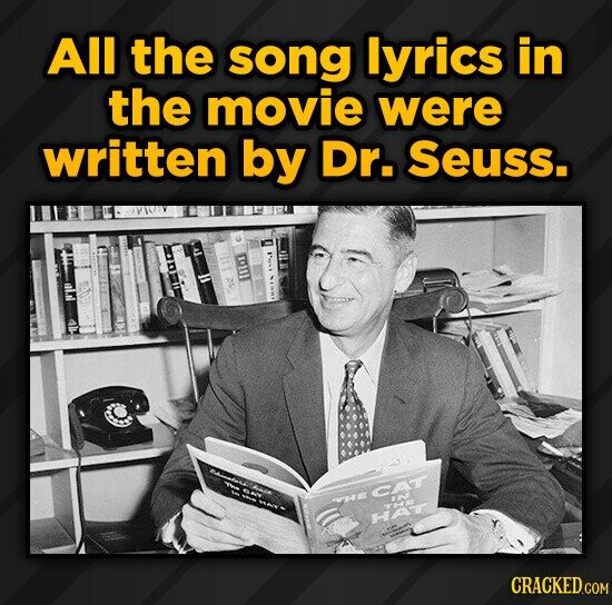All the song lyrics in the movie were written by Dr. Seuss. CAT W r AN Har