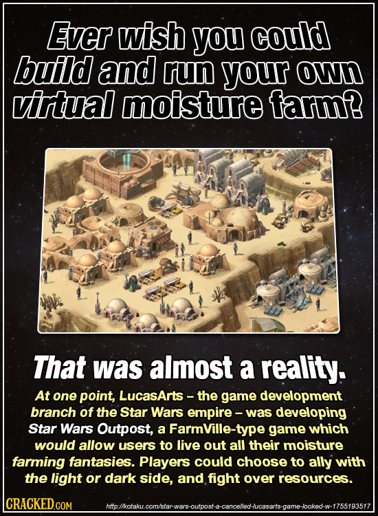 Ever wish you could build and run your own virtual moisture farm? That was almost a reality. At one point, LucasArts- the game development branch of t