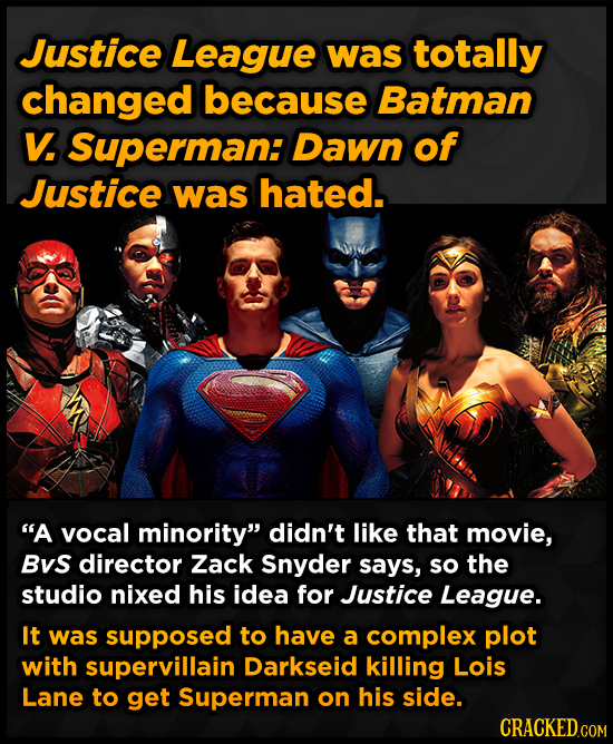 Justice League was totally changed because Batman V Superman: Dawn of Justice was hated. A vocal minority didn't like that movie, Bvs director Zack