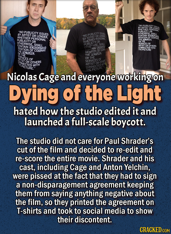 People Who Didn't Want Anything To Do With Their Own Work - Nicolas Cage and everyone working on Dying of the Light hated how the studio edited it an