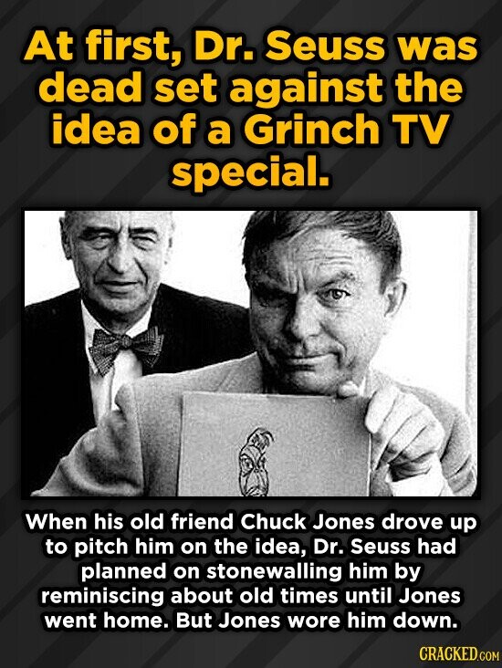 At first, Dr. Seuss was dead set against the idea of a Grinch TV special. When his old friend Chuck Jones drove up to pitch him on the idea, Dr. Seuss