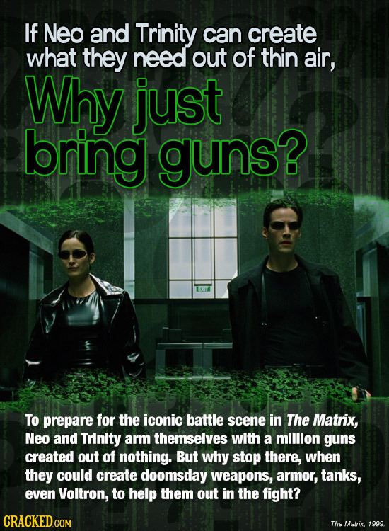 If Neo and Trinity can create what they need out of thin air, Why just bring guns? To prepare for the iconic battle scene in The Matrix, Neo and Trini