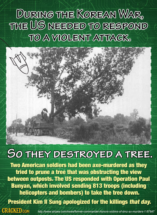 DURING THE KOREAN WAR, THE US NEEDED TO RESPOND TO A VIOLENT ATTACK So THEY DESTROYED A TREE. TWo American soldiers had been axe-murdered as they trie