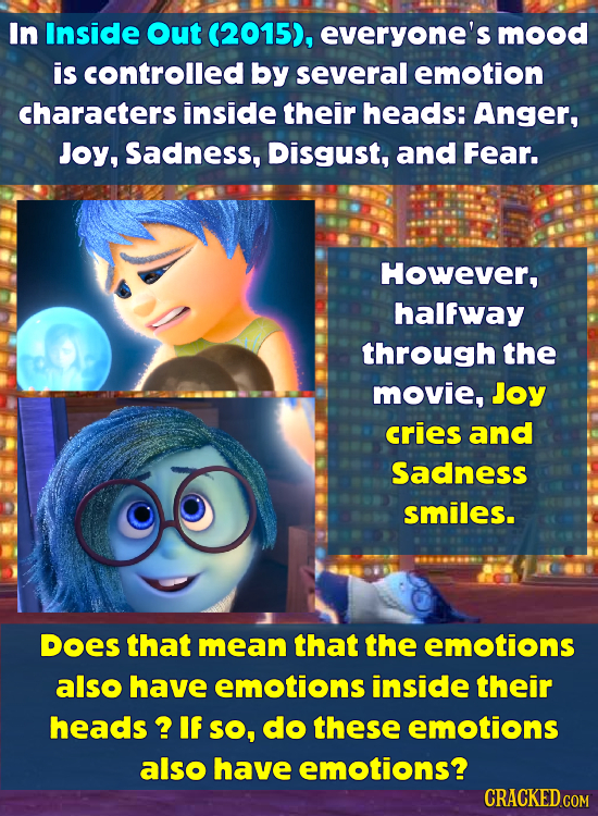 In Inside out (2015), everyone's mood is controlled by several emotion characters inside their heads: Anger, Joy, Sadness, Disgust, and Fear. However,