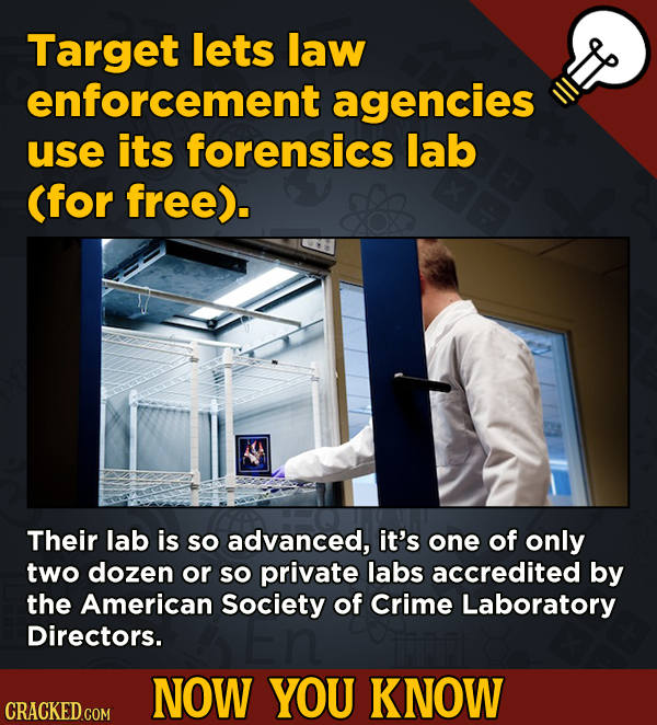 Target lets law 13 Obscure, Cool Chunks Of Movie And General Trivia - enforcement agencies use its forensics lab (for free).