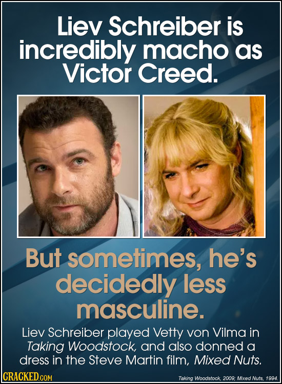 Liev Schreiber is incredibly macho as Victor Creed. But sometimes, he's decidedly less masculine. Liev Schreiber played Vetty von Vilma in Taking Wood
