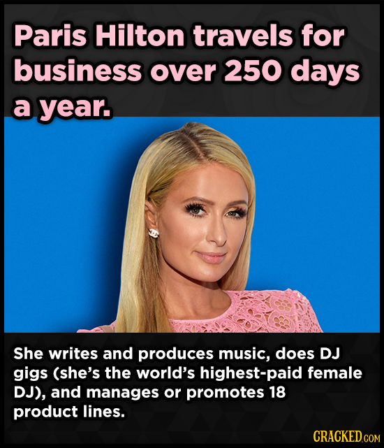 Paris Hilton travels for business over 250 days a year. She writes and produces music, does DJ gigs (she's the world's highest-paid female DJ), and ma