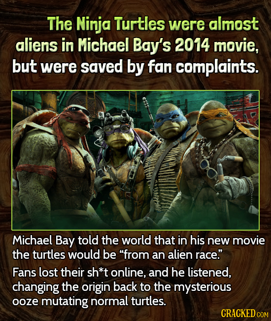 The Ninja Turtles were almost aliens in Michael Bay's 2014 movie, but were saved by fan complaints. Michael Bay told the world that in his new movie t