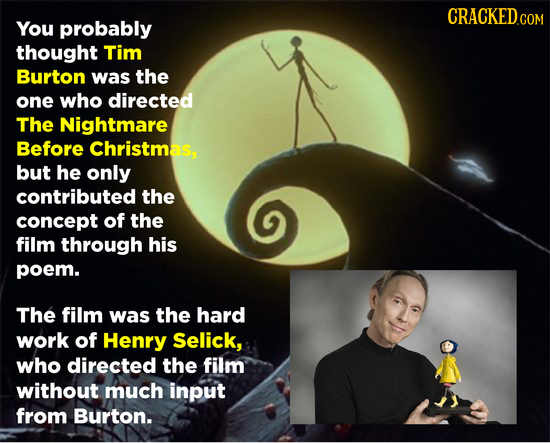 CRACKED.COM You probably thought Tim Burton was the one who directed The Nightmare Before Christmas, but he only contributed the concept of the film t