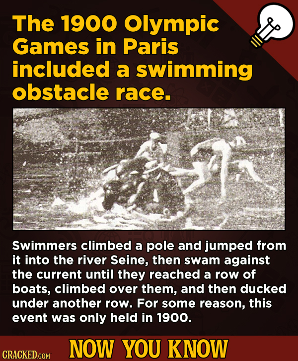 13 Obscure, Cool Chunks Of Movie And General Trivia - The 1900 Olympic Games in Paris included a swimming obstacle race.