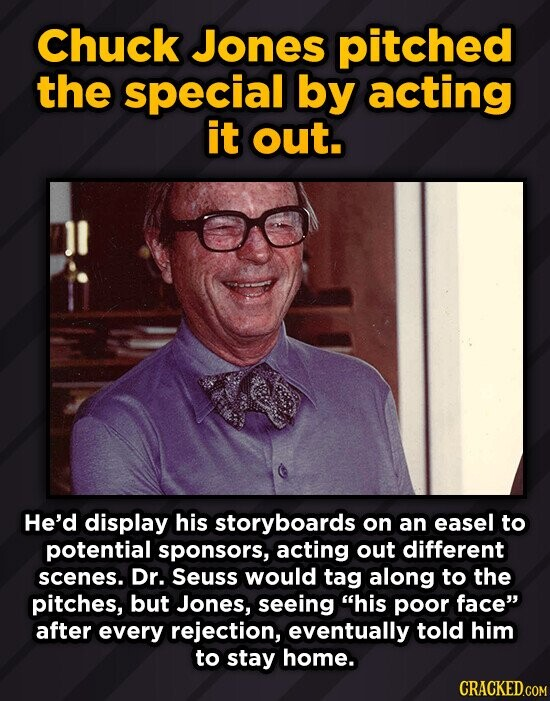 Chuck Jones pitched the special by acting it out. He'd display his storyboards on an easel to potential sponsors, acting out different scenes. Dr. Seu