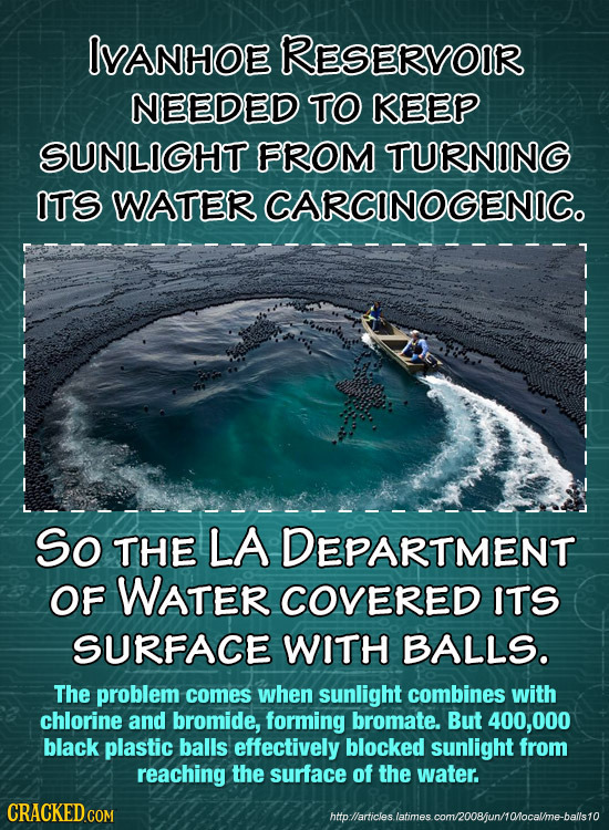 IVANHOE RESERVOIR NEEDED TO KEEP SUNLIGHT FROM TURNING ITS WATER CARCINOGENIC. So THE LA DEPARTMENT OF WATER COVERED ITS SURFACE WITH BALLS. The probl