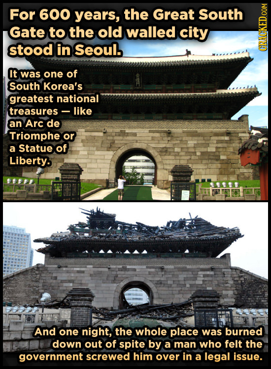 For 600 years, the Great South Gate to the old walled city stood in Seoul. It was one of South Korea's greatest national treasures like an Arc de Trio