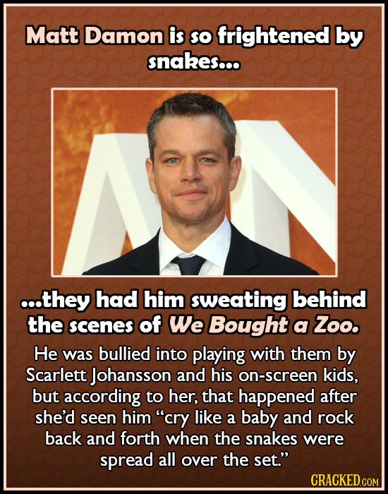 Matt Damon is SO frightened by snakes... c..they had him sweating behind the scenes of We Bought a Zoo. He was bullied into playing with them by Scarl