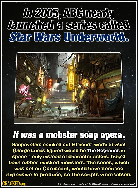 In 2005, ABC neartly launched a series called Star Wars Underworld. It was a mobster soap opera. Scriptwriters cranked out 50 hours' worth of what Geo