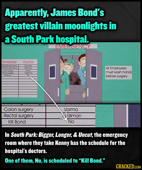 Apparently, James Bond's greatest villain moonlights in a South Park hospital. EMERGENCY Schedule Doctor Cuurnexy Potocoo All Employees Coron emo must
