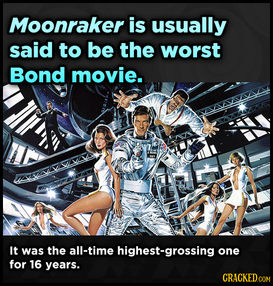 Moonraker is usually said to be the worst Bond movie. It was the all-time highest-grossing one for 16 years.