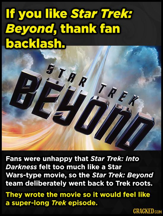 If you like Star TREk: Beyond, thank fan backlash. BEYOND 5TAR TREK Fans were unhappy that Star Trek: Into Darkness felt too much like a Star Wars-typ