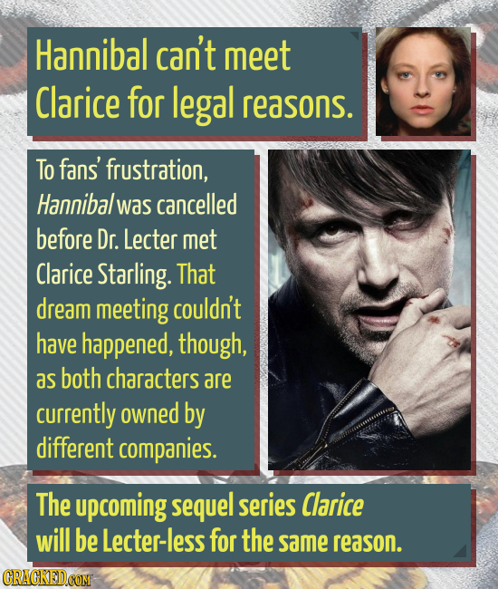 Hannibal can't meet Clarice for legal reasons. To fans' frustration, Hannibal was cancelled before Dr. Lecter met Clarice Starling. That dream meeting