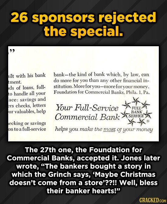 26 sponsors rejected the special.  with his bank bank-the kind of bank nilt which, by law, can do more for you than any other financial tment. in- d