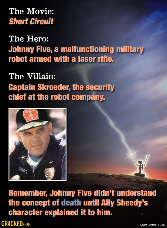 The Movie: Short Circuit The Hero: Johnny Five, a malfunctioning military robot armed with a laser rifle. The Villain: Captain Skroeder, the security