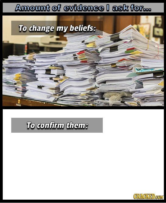 Amount of evidence 0 ask for.. To change my beliefs: To confirm them: CRACKEDOON