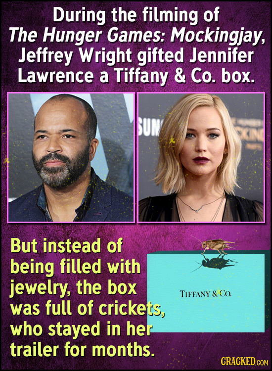 During the filming of The Hunger Games: Mockingjay, Jeffrey Wright gifted Jennifer Lawrence a Tiffany & Co. box. But instead of being filled with jewe