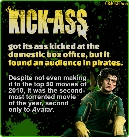 CRACKEDcO KICK-ASS got its ass kicked at the 'domestic box office, but it found an audience in pirates: Despite not even making it to the top 50 movie