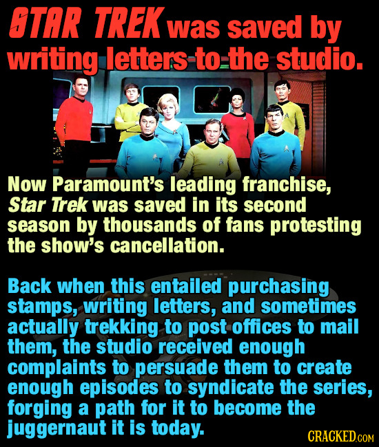 OTAR TREK was saved by writing letters to the studio. Now Paramount's leading franchise, Star Trek was saved in its second season by thousands of fans