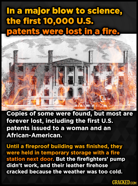 In a major blow to science, the first 000 U.S. patents were lost in a fire. Copies of some were found, but most are forever lost, including the first