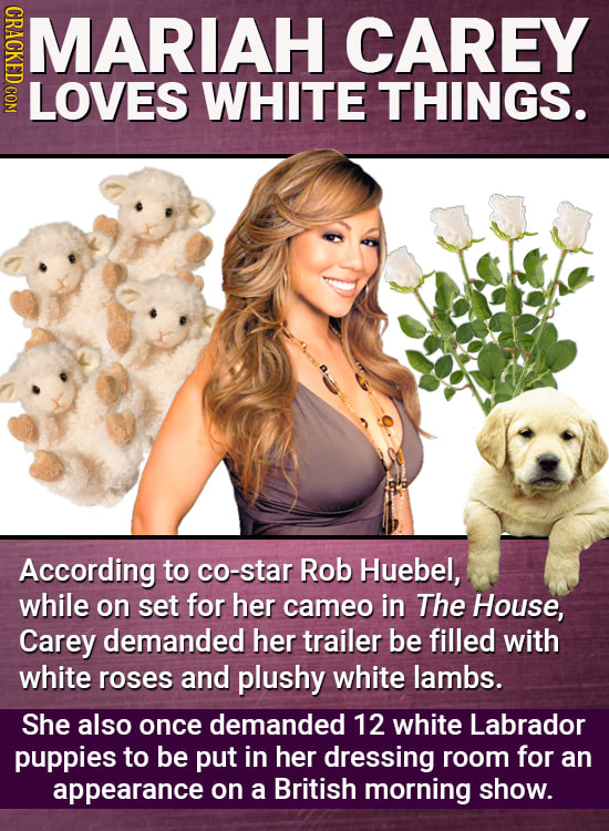 MARIAH CAREY LOVES WHITE THINGS. According to co-star Rob Huebel, while on set for her cameo in The House, Carey demanded her trailer be filled with w