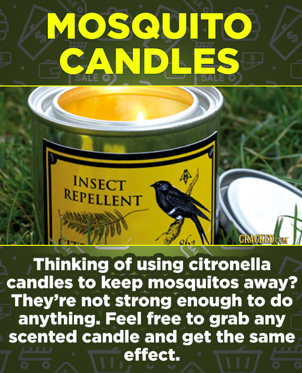 16 Products In Wide Use (That Don't Do Much) - Thinking of using citronella candles to keep mosquitos away? They're not strong enough to do anything.