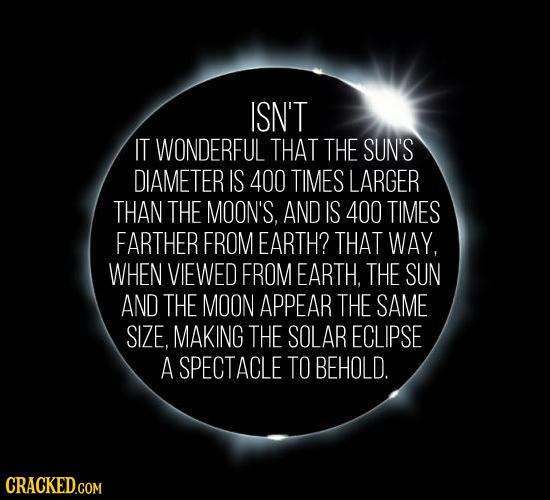 ISN'T IT WONDERFUL THAT THE SUN'S DIAMETER IS 400 TIMES LARGER THAN THE MOON'S, AND IS 400 TIMES FARTHER FROM EARTH? THAT WAY, WHEN VIEWED FROM EARTH.
