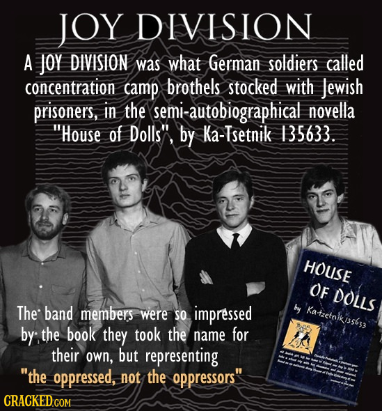 JOY DIVISION A Joy DIVISION was what German soldiers called concentration camp brothels stocked with Jewish prisoners, in the semi-autobiographical no