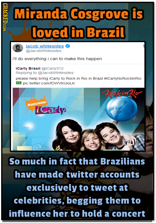 Miranda Cosgrove is loved in Brazil iacob whitesides @JacobWhitesides i'll do everything i can to make this happen icarly Brasil @iCarly312 Replying t