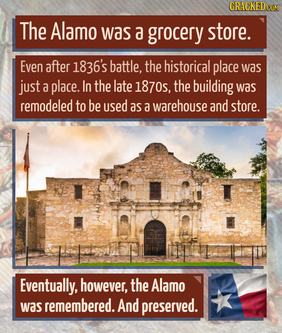 CRACKEDG The Alamo was a grocery store. Even after 1836's battle, the historical place was just a place. In the late 1870, the building was remodeled