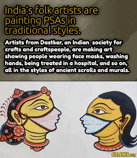 India's folk artists are painting PSAS in traditional Artists from Dastkar, an Indian society for crafts and craftspeople, are making art showing peop