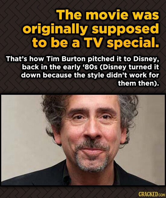 The movie was originally supposed to be a TV special. That's how Tim Burton pitched it to Disney, back in the early '80s (Disney turned it down becaus