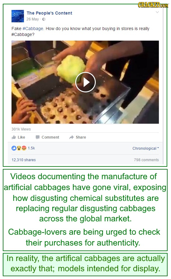 CRAEKEDOM The People's Content 26 May E Fake #Cabbage. How do you know what your buying in stores is really #Cabbage? 301k Views Like Comment Share 1.