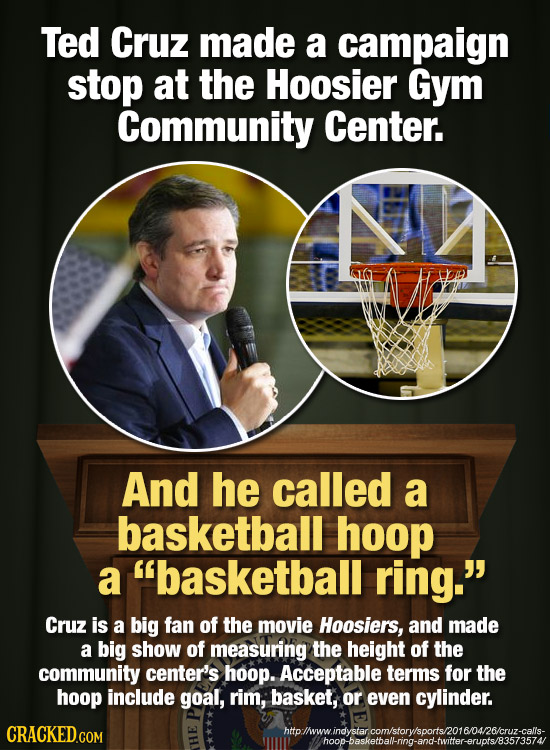 Ted Cruz made a campaign stop at the Hoosier Gym Community Center. And he called a basketball hoop a basketball ring. Cruz is a big fan of the movie