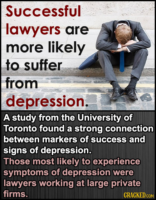 Successful lawyers are more likely to suffer from depression. A study from the University of Toronto found a strong connection between markers of succ