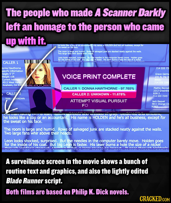 The people who made A Scanner Darkly left an homage to the person who came up with it. bne except fsr acainst the wal Leon CALLER 1 oOn Hawthomne onic