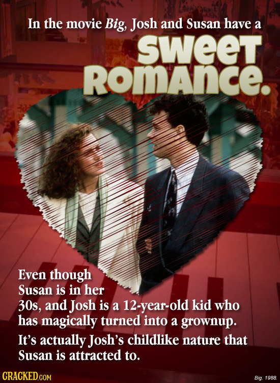 In the movie Big, Josh and Susan have a sweet RomAnce. Even though Susan is in her 30s, and Josh is a 12-year-old kid who has magically turned into a