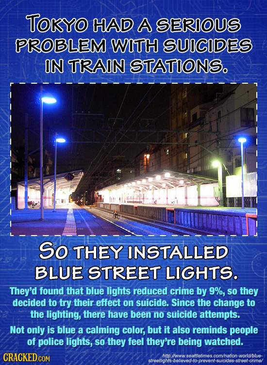 TOKyO HAD A SERIOUS PROBLEM WITH SUICIDES IN TRAIN STATIONS. So THEY INSTALLED BLUE STREET LIGHTS. They'd found that blue lights reduced crime by 9%,