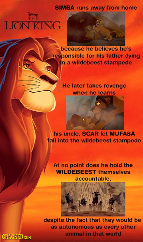 SIMBA runs away from home Disuey THE LION KING because he believes he's responsible for his father dying in a wildebeest stampede He later takes reven