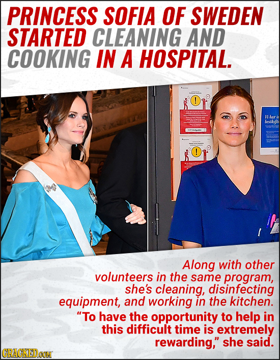 PRINCESS SOFIA OF SWEDEN STARTED CLEANING AND COOKING IN A HOSPITAL. ! I5 har besobfi ! Along with other volunteers in the same program, she's cleanin
